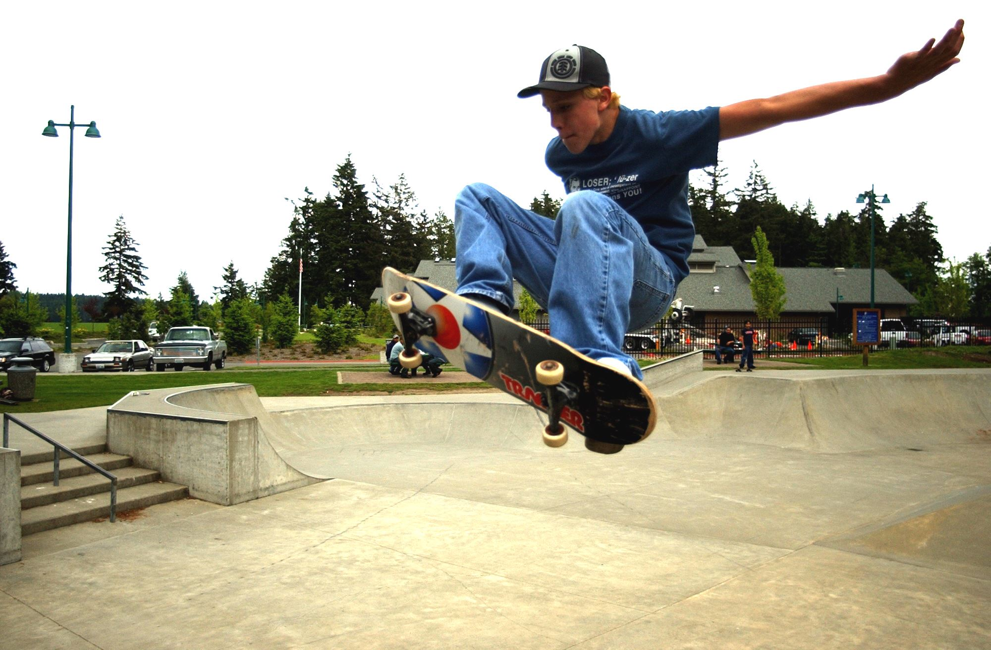 Skate Park Area with Skater in Mid-Air