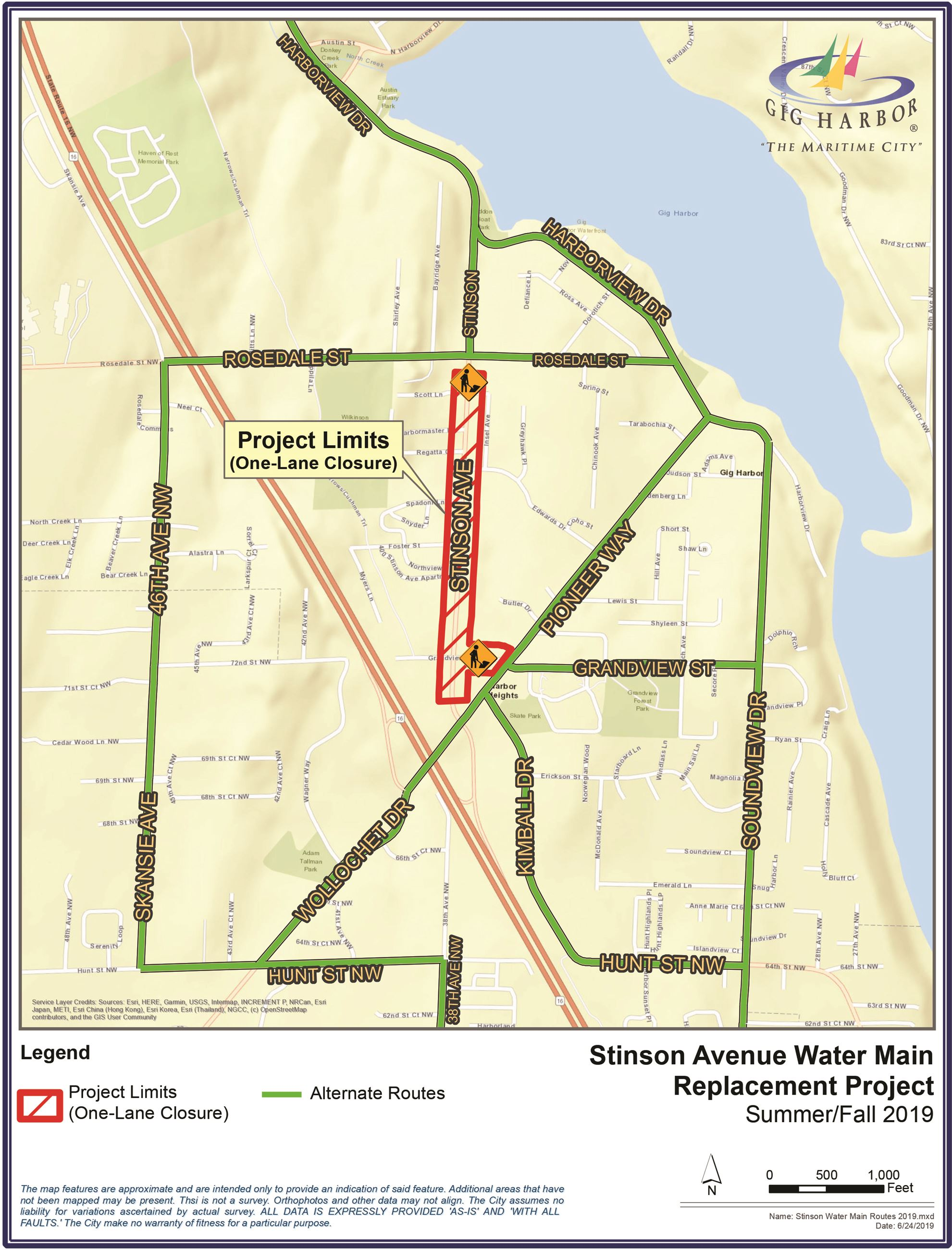 Stinson Water Main Routes 2019