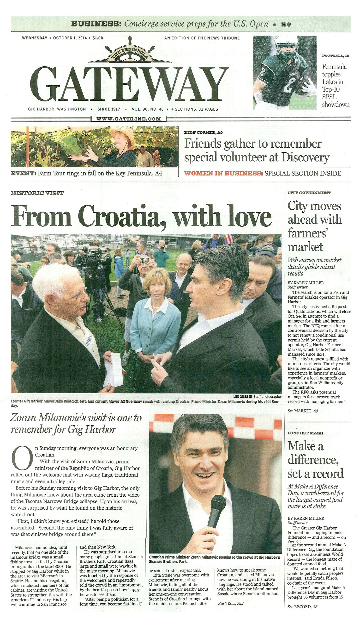 From Crotia With Love  Newspaper Page
