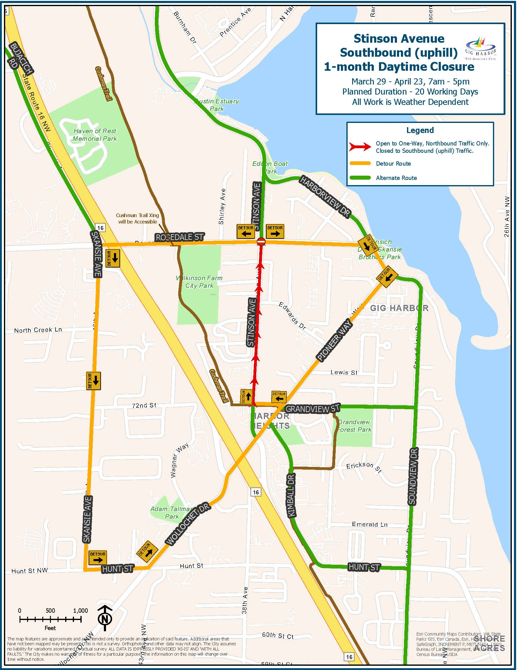 Stinson Ave Initial Closure Map